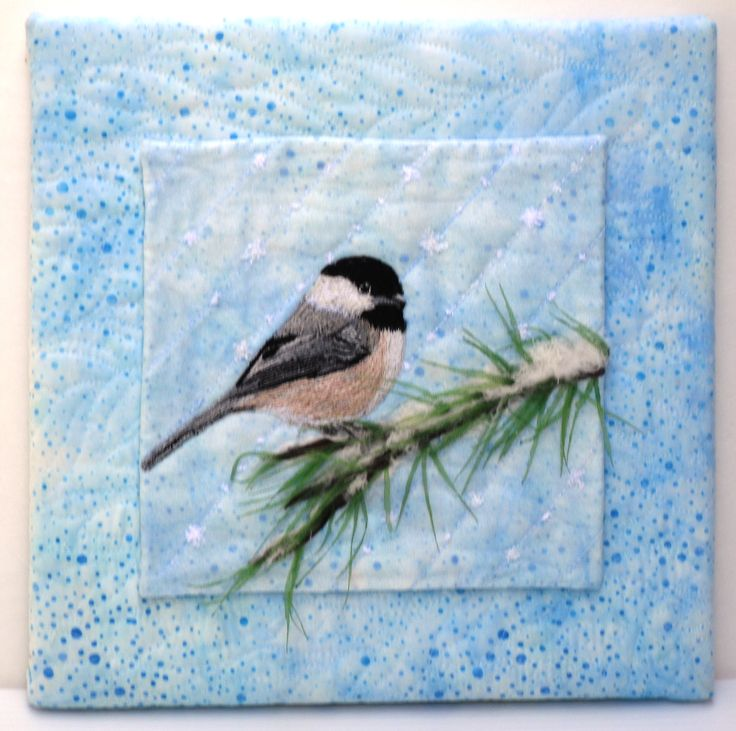 Winter Perch - Quilted Picture with 3 D Branch and Thread Painted Chickadee.