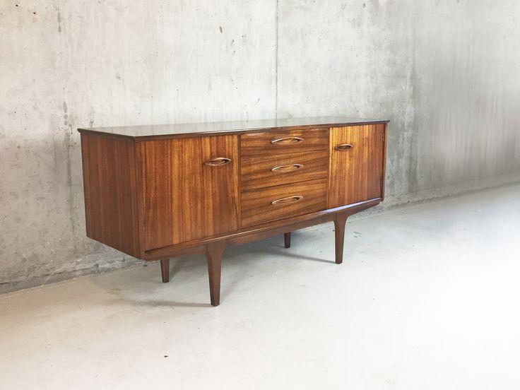Teak Veneer Mid Century Sideboard with Ellipse Recessed Handles 1970s