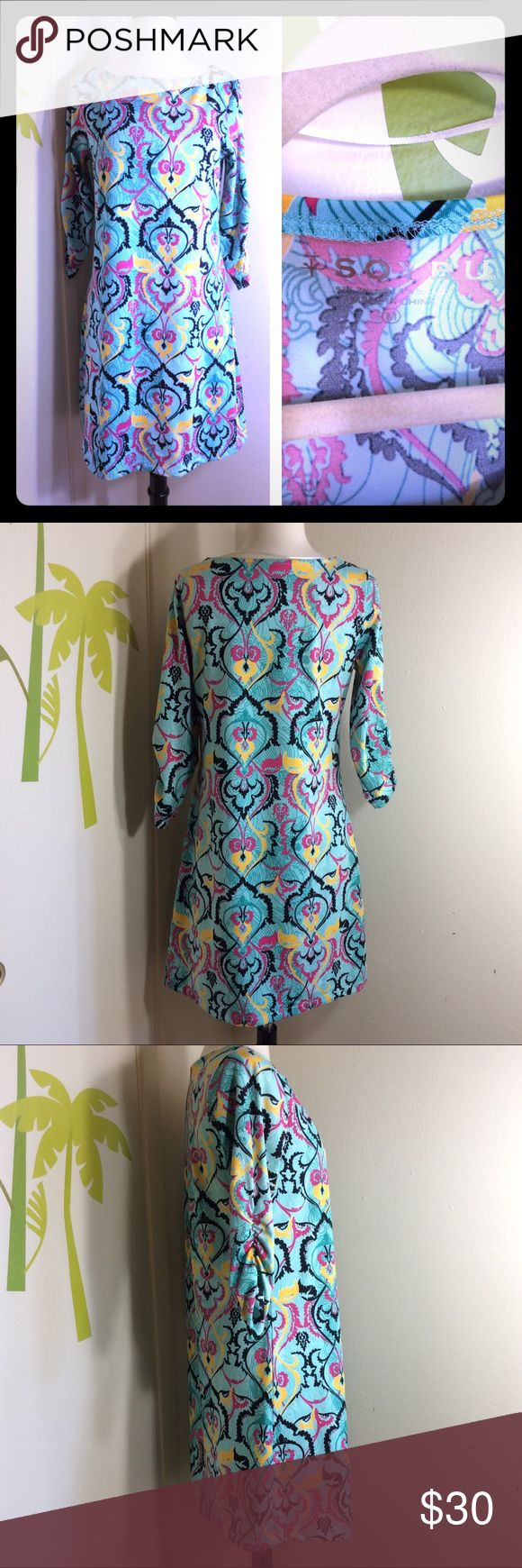 "Soybu Green Multi Color Dress Size Medium In great condition. 92% Polyester & 8% Spandex. Soft and stretchable. Armpit to armpit: 17"", Sleeve: 12"", Length: 34"" Soybu Dresses"