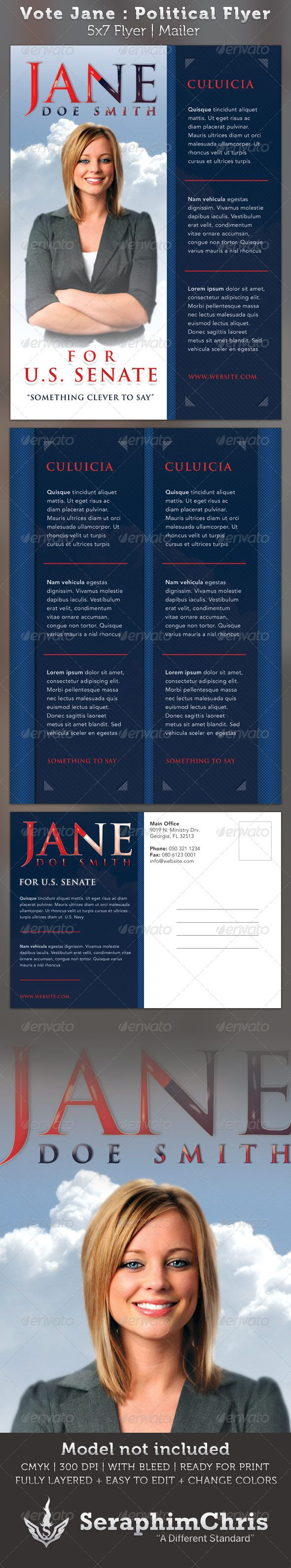 Vote jane 5x7 political flyer mailer template colors for Voting flyer templates free