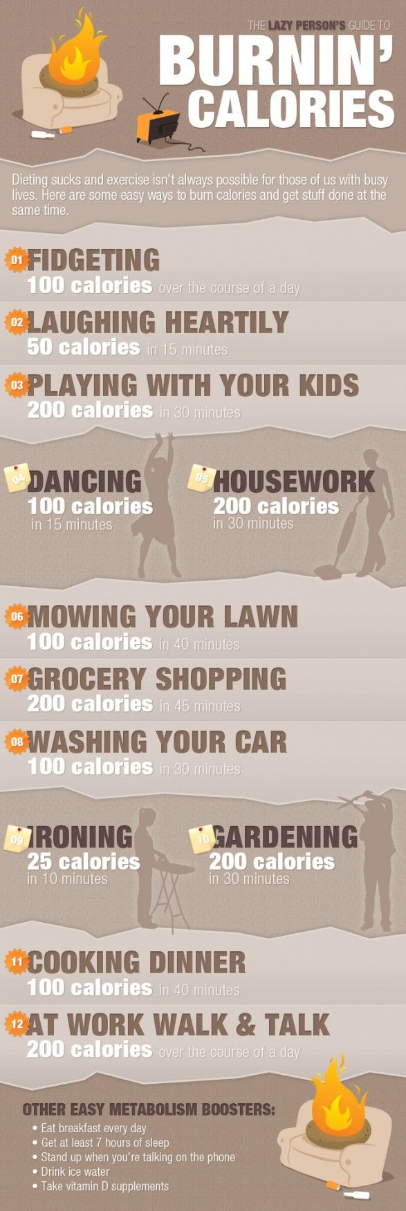 Lazy Person guide to burnin calories