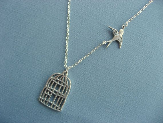 Necklace Be Free Bird Necklace Cage pendant Bird by DevinMichaels. , via Etsy.