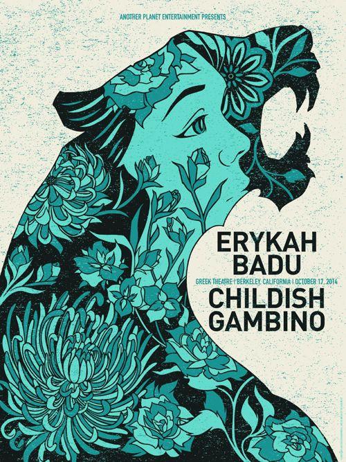 Art Print by The Bungaloo // Erykah Badu / Childish Gambino // Gig poster