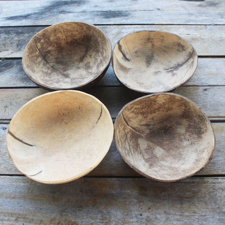 Coconut shell bowl,coconut shell 3 bowls,size 5 - 6 x 2 inch by TheThailand on Etsy