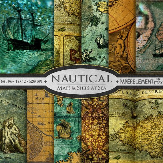 This is a set of 10 beautiful nautical printable papers featuring antique old world maps that have been creatively transformed into marine art. With