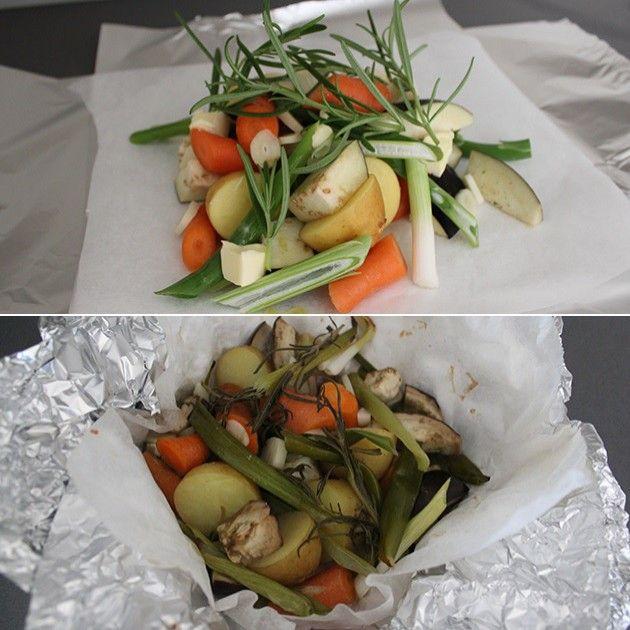 Grøntsagspakker er super nemt og sundt tilbehør. Klargør blot grøntsagerne, så klarer ovnen eller grillen resten.
