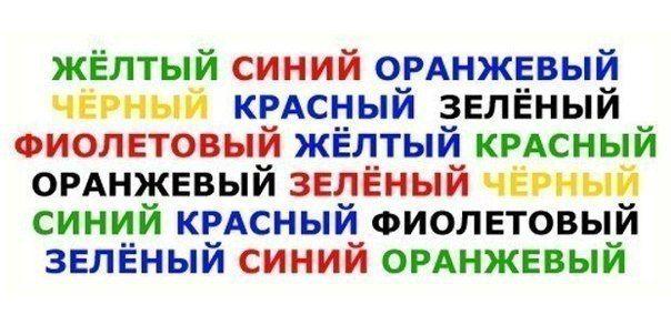 Назови цвет слова  Нужно глядя на эти слова произнести вслух цвета, которыми эти слова написаны. Правое полушарие мозга пытается назвать цвет, а левое – произнести слово.