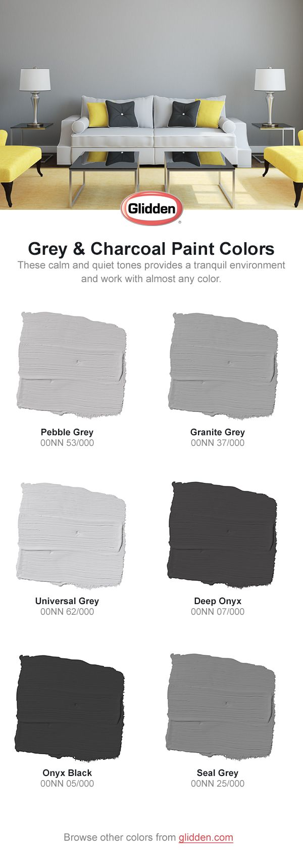 These calm and quiet tones provides a tranquil environment and work with almost any color. Click to view the colors in this paint collection, and picture them in your home at Glidden.com