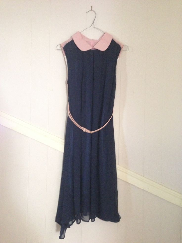 Pretty baby pink and navy blue with waist belt retro dress. Horrifying to think about what this beauty cost full retail when I got it at the Op Shop for $6 in mint cond.
