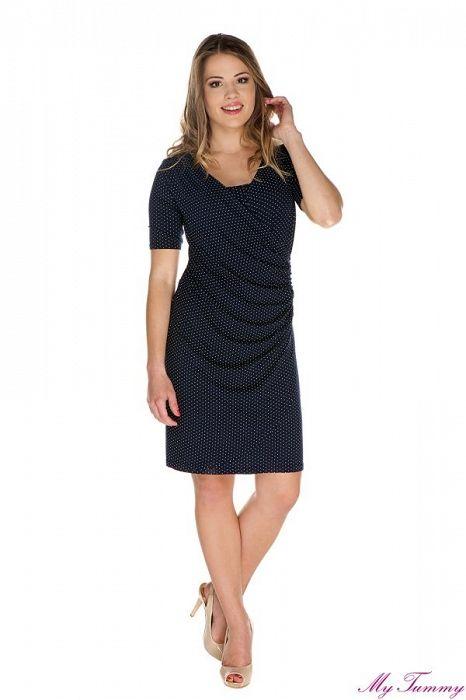 """Těhotenské a kojící šaty """"Isabel"""" puntíkované - My Tummy - Luxusní, elegantní a praktické oblečení pro těhotné a kojící ženy"""
