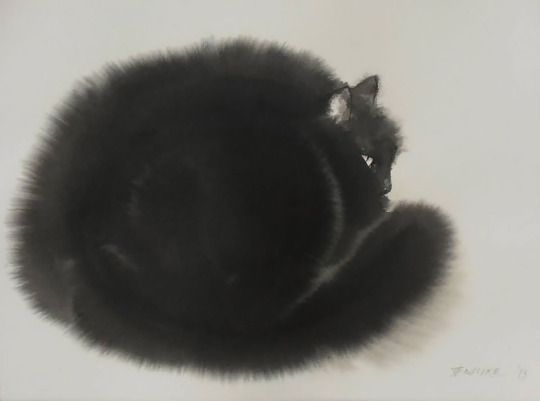 Gorgeous, emotive water color paintings of black cats by Endre Penovác.