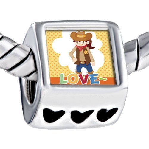 Pugster Child Cowboy Theme Girl Love Photo Bead Heart Beads Fits Pandora Charm Bracelet Pugster. $12.49. Weight (gram): 4.20. Size (mm): 7.60*9.10*10.10. Color: Colorful. Metal: Metal