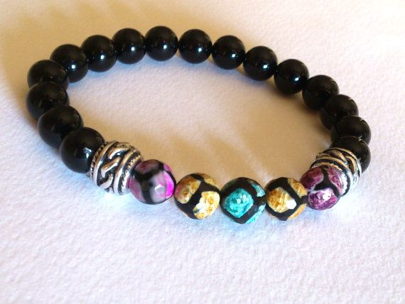 Beaded Bracelet/ Gemstone Stretch Bracelet/ Black Agate by MACRANI