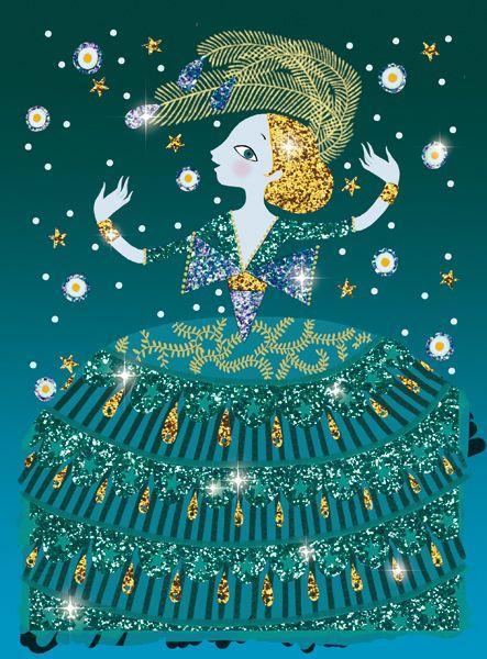 Csillogó ruhák-Csillámkép készítő készlet Djeco