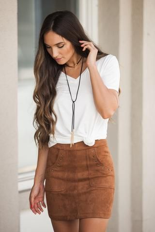 Season's Splendor Suede Skirt in Rust