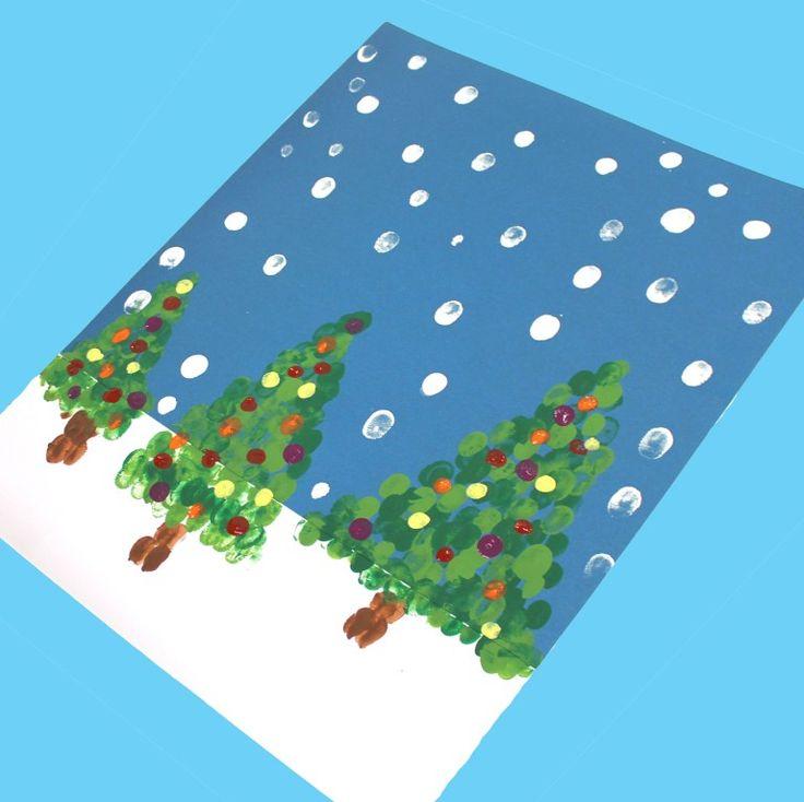 Fingerprint christmas tree kid crafts – christmas kid craft – arts and crafts activities – amorecraftylife.com #kidscraft #craftsforkids #christmas #preschool