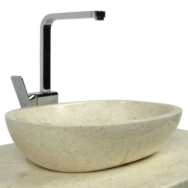 Naturstein Marmor - Waschbecken MARA Waschschale oval poliert creme 45x35 cm