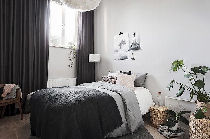 Scandinavian bedroom in grey tones