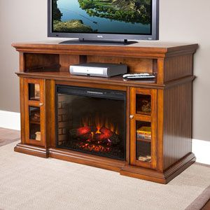 "Pasadena 28"" Walnut Media Console Electric Fireplace Cabinet Mantel Package - 28MM468-W502"