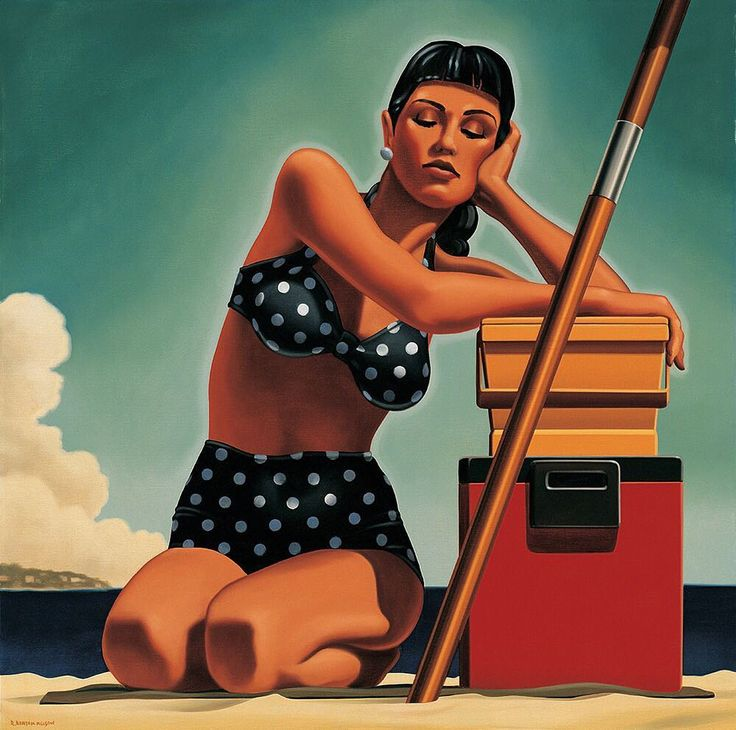 Artwork by American contemporary artist Kenton Nelson @kenton_nelson. Coming from a commercial illustration background his paintings never nostalgic depict a certain suburban zeitgeist: young women at home and on the beach men in suits such otherwise mundane imagery as mailboxes fire hydrants kitchens lawn mowers and a boldly colored tractor that suggest a bygone era all under the protective allure of a companionable light and shadow.  Работа американского художника Кентона Нельсона. Имея…