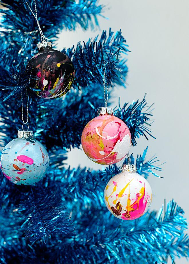 DIY Paint Splatter Christmas Ornaments // via Love From Ginger