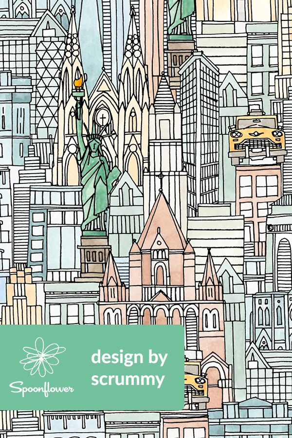 New York Watercolor Beautiful Illustration Of New York On Fabric Wallpaper And Gift Wrap Graphic Design Illustration Linocut Prints Graphic Illustration