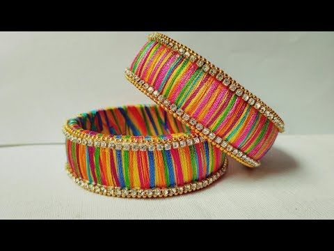 How To Make Designer Bangles // Multi Color Silk Thread Bangle Making Tutorial - YouTube