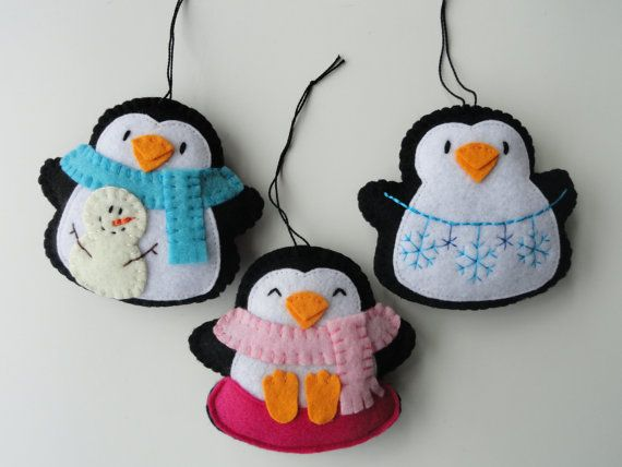 Penguin Snow Day Felt Ornaments  Winter by GingerSweetCrafts, $18.00