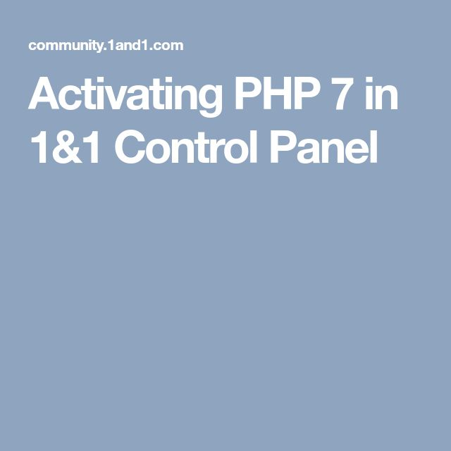 Activating PHP 7 in 1&1 Control Panel