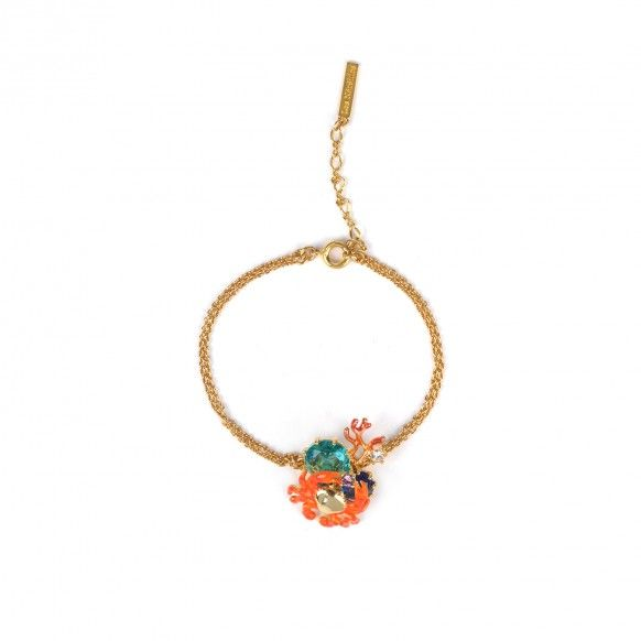 Bracelet petit crabe, corail et verre taillé
