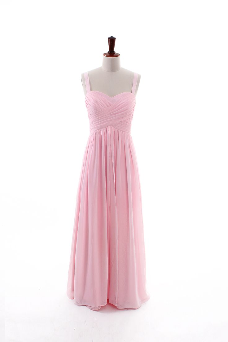 Classic sweetheart empire waist sleeveless with straps floor-length chiffon brid