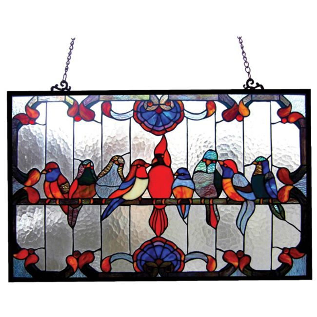 Bring an interesting and eye-catching accent to your room with this elegant glass window panel that showcases a gathering of birds. Also made with metal, this stylish window panel highlights vivid shades of red, blue, and green, and a casual style.