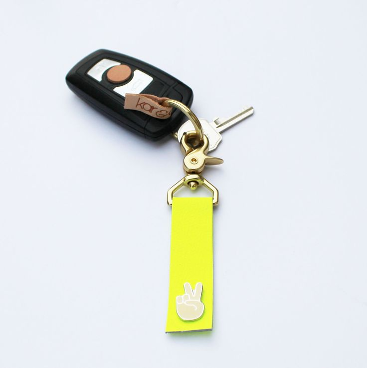 Peace Sign Emoji Leather Key Fob