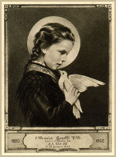 """Saint of the Day – 6 July – St Maria Goretti – Virgin and Martyr, known as """"Saint Agnes of the 20th Century"""" (16 October 1890 at Corinaldo, Ancona, Italy – choked and stabbed to death during a rape attempt on 6 July 1902 at the age of 12.)   She was Canonised on 24 June 1950 by Pope Pius XII    The ceremony was attended by 250,000 including her mother, the only time a parent has witnessed her child's canonization.   Patronages – against poverty, against the death of parents, ......"""