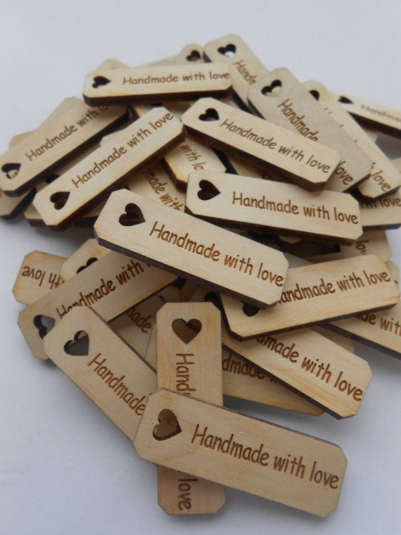 50 HANDMADE WITH LOVE Tags Laser Cut Wood. 1.5 by TreeTownPaper