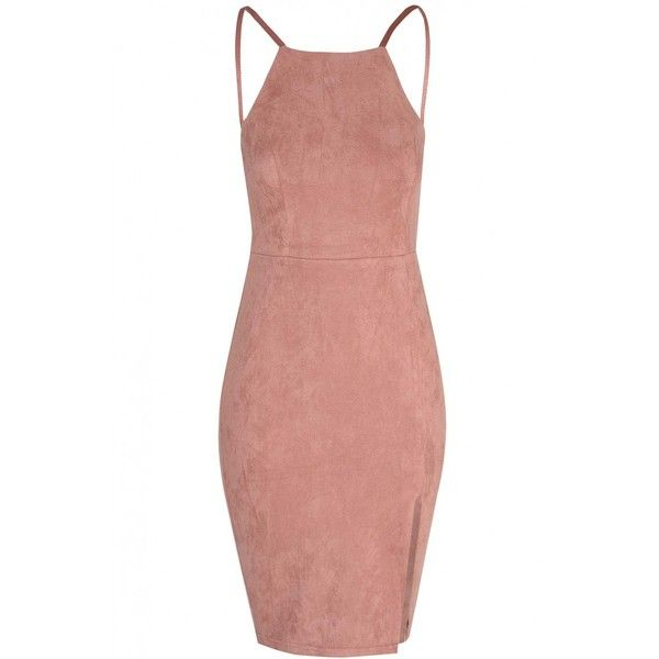 Dusty Pink Suede Bodycon Dress (700 ARS) ❤ liked on Polyvore featuring dresses, vestidos, robe, square neck dress, plunge back dress, low back bodycon dress, glamorous dresses and low back dress