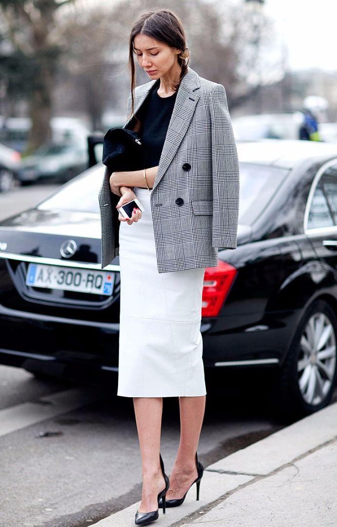 classic grey blazer + skirt