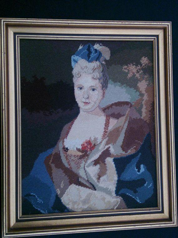 Framed Vintage Tapestry Picture. Framed Gobelin Portrait of  a Lady ROP0043