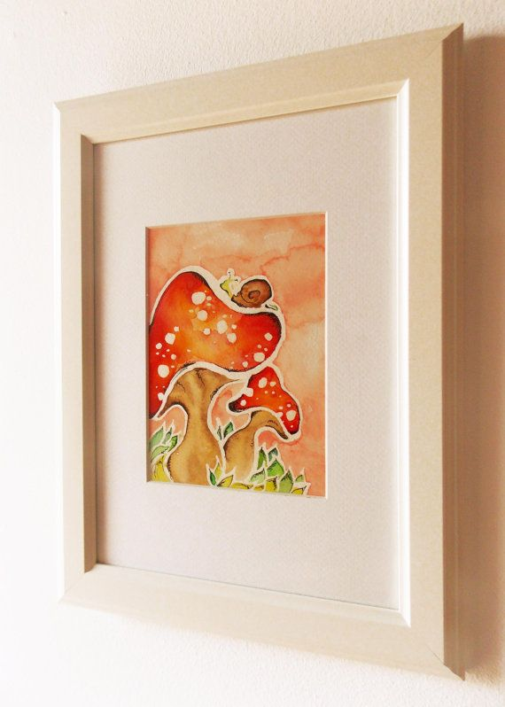 Nursery Art Mushroom Watercolor PRINT Giclee Print by Marilouart, €7.50