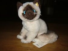 "Steiff Cat ""Cattie"" Woven Fur Plush ID Button, Tags, 099458, Germany, 9"", New"