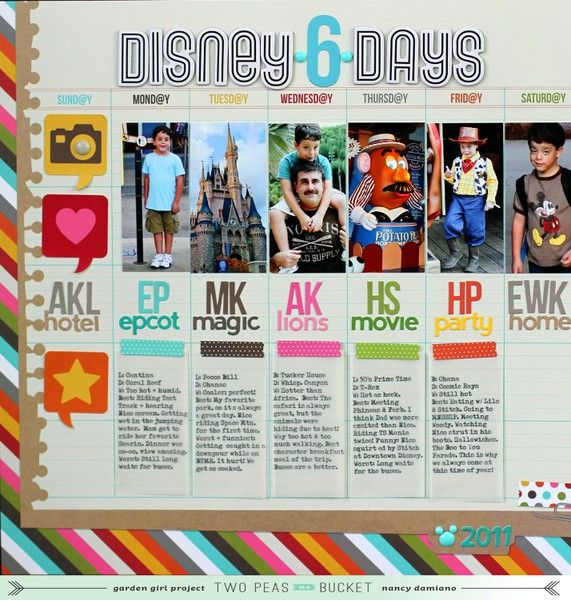 love the day by day approach! Disney layout by Nancy Damiano