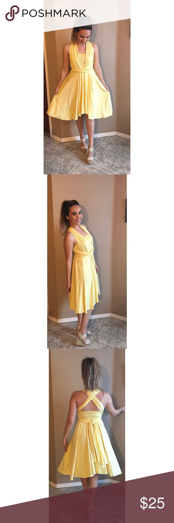 """Light Yellow Infinity Dress Light Yellow Infinity Dress with bandeau, can be styled MANY different ways! YouTube tutorials on how it can be styled. Dress worn one time. Great condition. Dress was sold in """"one size"""", fits like a S/M. Dresses Midi"""