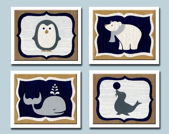 Arctic Animals Nursery Decor Nursery Art by HappyFramesWallArt, $48.00