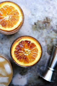 Apple Cider, Bourbon and Amaretto Cocktails with Brûléed Oranges