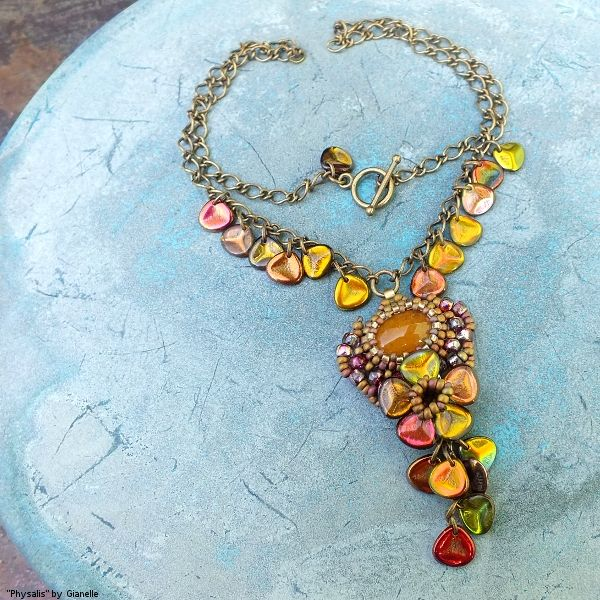 """Physalis Peruviana"" necklace - stone cabochon, TOHO, Matubo seed beads, Czech rose petal beads"