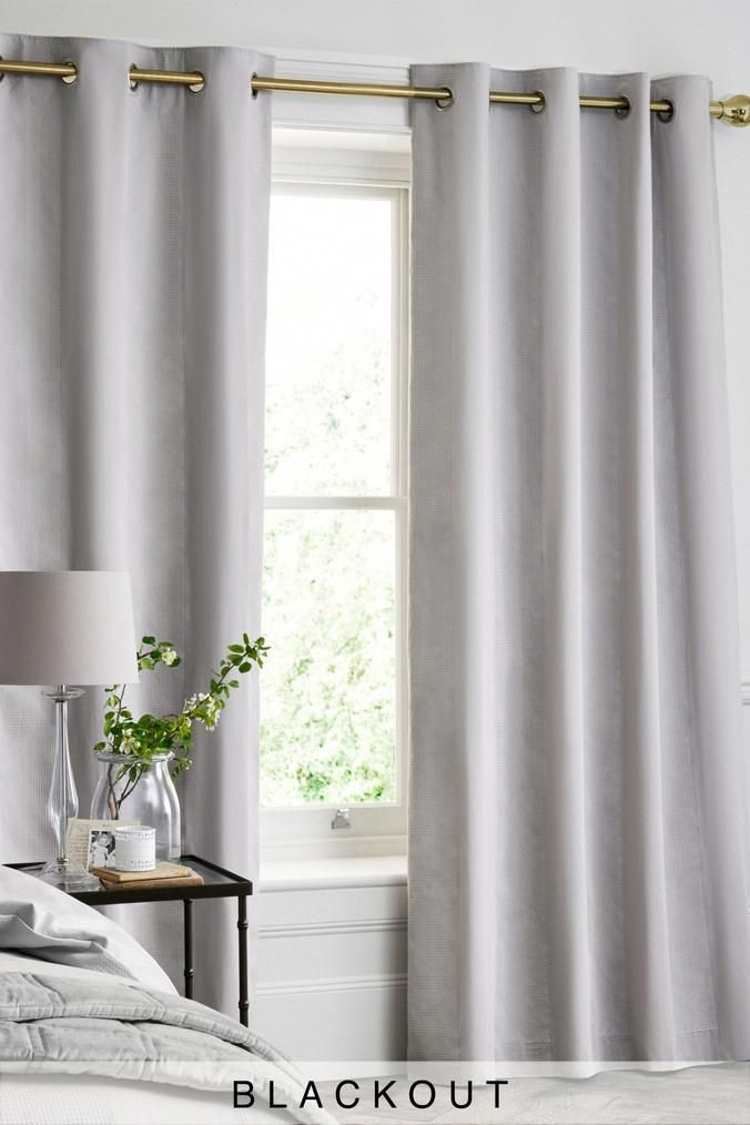 Next Cotton Waffle Blackout Lined Curtains Grey Homedecor