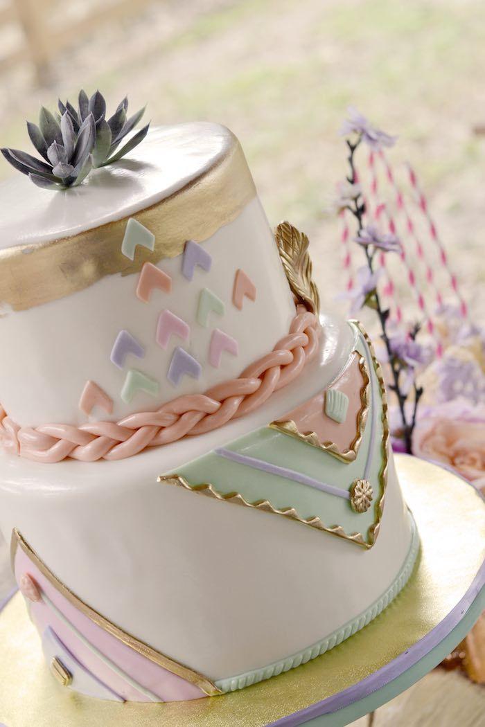 Cake from a Pocahontas Indian Boho Birthday Party via Kara's Party Ideas | Pineado por H A B I T A N 2 http://habitandos.blogspot.com.es