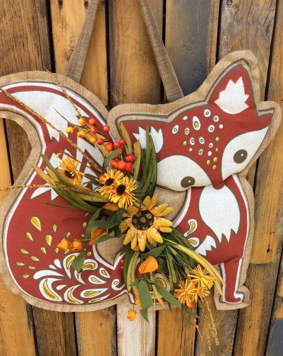 Burlap Fox door hanger Fall Door Hanger Burlap Pumpkin by Keleas