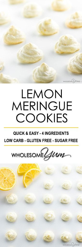 Easy Sugar-Free Lemon Meringue Cookies Recipe - See how to make meringue cookies that are healthy & delicious! These easy sugar-free lemon meringue cookies without cream of tartar need just 4 ingredients. #LowCarb #GlutenFree #cookies