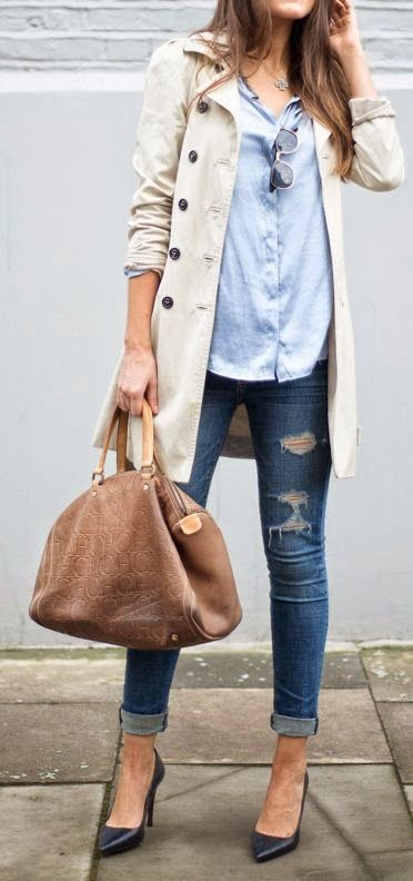 Luv to Look   Curating Fashion & Style: Denim, pale blue shirt and trench coat.